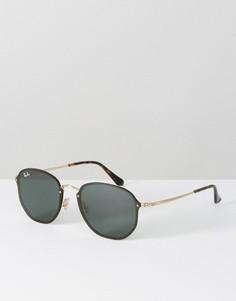 Солнцезащитные очки в черной шестиугольной оправе с плоскими стеклами Ray Ban - Черный