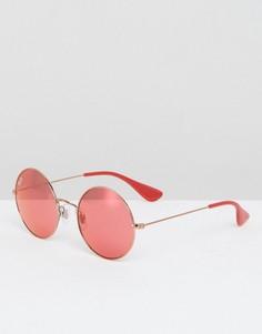 Круглые солнцезащитные очки с красными стеклами Ray Ban - Красный
