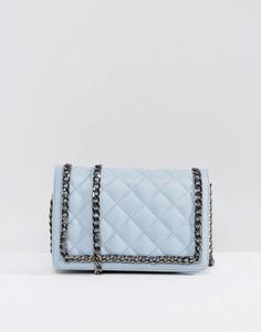 Стеганая кожаная сумка на плечо с цепочкой ASOS - Синий