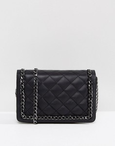 Стеганая кожаная сумка на плечо с цепочкой ASOS - Черный
