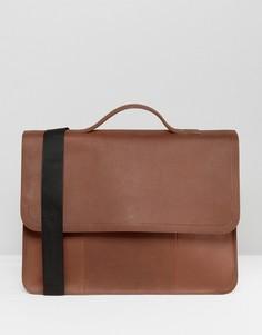 Коричневая кожаная сумка сэтчел с подкладкой ASOS - Коричневый