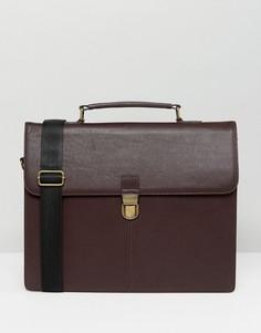 Бордовый портфель из зернистой кожи ASOS - Красный