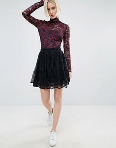 Кружевная мини-юбка Ganni Larkin - Темно-синий