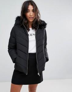 Дутая куртка с воротником из искусственного меха Miss Selfridge - Черный