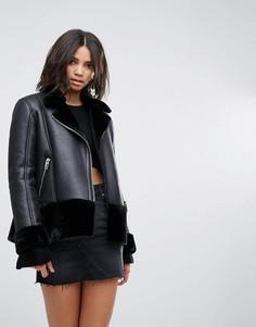 Куртка-авиатор с отделкой из искусственной овечьей шерсти Miss Selfridge - Темно-синий