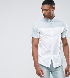 Рубашка узкого кроя с бледно-зеленой вставкой ASOS TALL - Белый