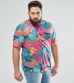 Свободная футболка с цветочным принтом и окантовкой ASOS PLUS - Розовый
