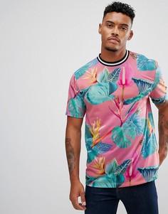 Свободная футболка с цветочным принтом и контрастной отделкой ASOS - Розовый