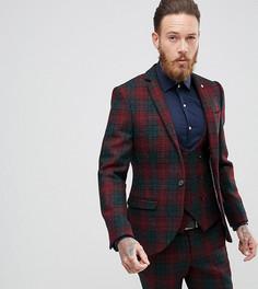 Супероблегающий пиджак из харрис-твида с принтом тартан Noose & Monkey - Красный