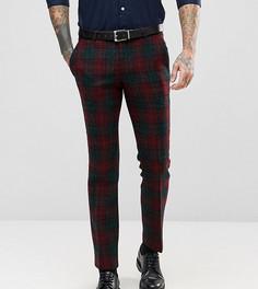 Супероблегающие брюки из харрис-твида с принтом тартан Noose & Monkey - Красный