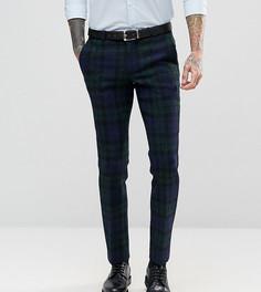 Супероблегающие брюки из харрис-твида с принтом тартан Noose & Monkey - Темно-синий