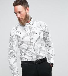 Строгая рубашка с цветочным принтом Noose & Monkey - Белый