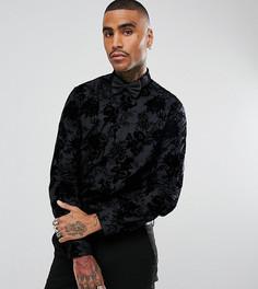 Приталенная рубашка с флоковой отделкой Noose & Monkey - Черный