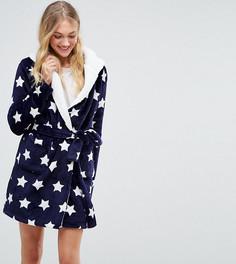 Пушистый халат со звездами ASOS TALL - Темно-синий