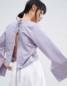 Топ с открытой спиной и широкими рукавами House Of Sunny - Фиолетовый