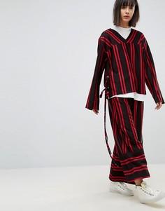 Комбинируемые брюки в полоску с широкими штанинами House Of Sunny - Черный