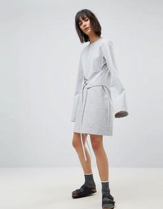 Платье-футболка с длинными рукавами и корсетной шнуровкой House Of Sunny - Серый
