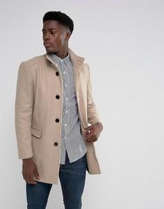 Пальто с воротником-стойкой из ткани с добавлением шерсти Selected Homme - Бежевый