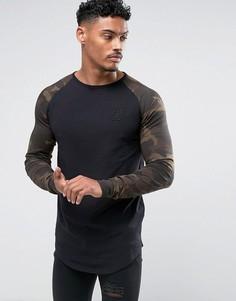 Черный обтягивающий лонгслив с камуфляжными рукавами SikSilk - Черный