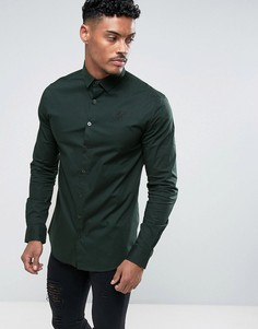 Темно-зеленая обтягивающая рубашка SikSilk - Зеленый
