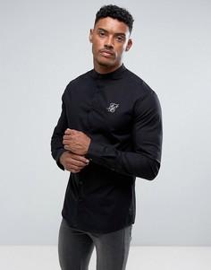 Черная оксфордская рубашка SikSilk - Черный