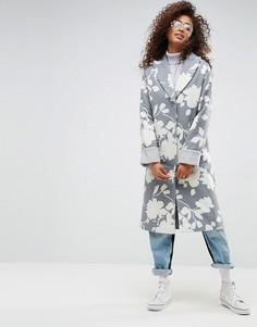 Оверсайз-пальто с жаккардовым принтом ASOS - Мульти
