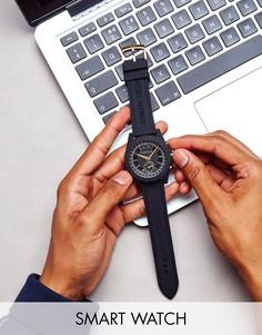 Черные смарт-часы с кожаным ремешком Armani Exchange Connected AXT1004 - Черный