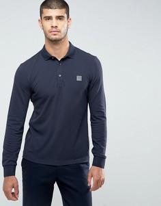 Темно-синяя футболка-поло узкого кроя с длинными рукавами BOSS Orange by Hugo Boss Paulyn - Темно-синий