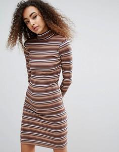 Полосатое платье в рубчик с отворачивающимся воротником Brave Soul Sabrina - Бежевый