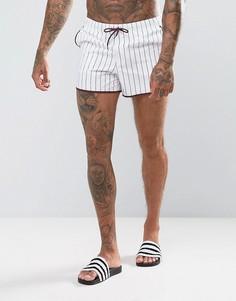 Белые короткие шорты для плавания в бордовую полоску ASOS - Белый