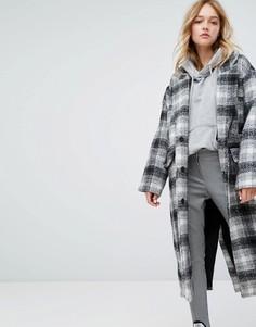 Oversize-пальто в клетку Monki - Мульти