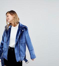 Бархатная байкерская куртка Monki - Синий