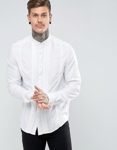 Рубашка классического кроя из вискозы со складками спереди ASOS - Белый
