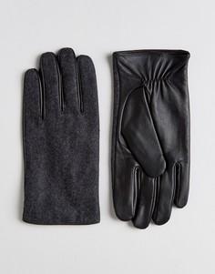 Серые перчатки из кожи и мельтона ASOS - Серый