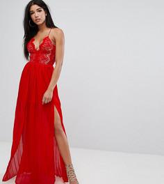 Платье макси с глубоким декольте и двумя разрезами Rare London - Красный