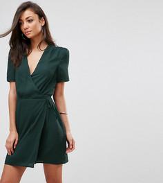 Платье с запахом и ленточной завязкой Fashion Union Tall - Зеленый