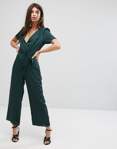 Комбинезон с запахом и завязкой на талии Fashion Union - Зеленый