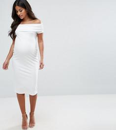 Облегающее платье миди с открытыми плечами ASOS Maternity - Кремовый