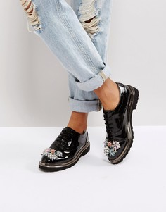 Декорированные туфли на плоской подошве ASOS MAYFLOWER - Черный