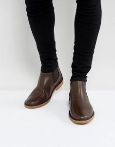 Коричневые кожаные ботинки челси Selected Homme Royce - Коричневый