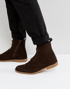 Коричневые замшевые ботинки на шнуровке Selected Homme Royce - Коричневый
