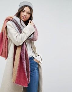 Пушистый длинный шарф колор блок ASOS - Серый
