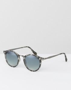 Круглые солнцезащитные очки в серой черепаховой оправе AJ Morgan - Серый