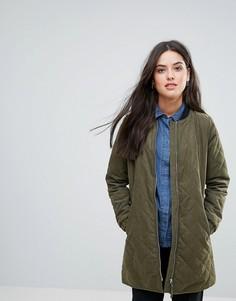 Длинная стеганая куртка Y.A.S Lucia - Зеленый