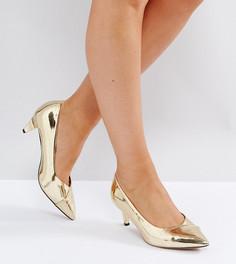 Остроносые туфли с каблуками-рюмочками для широкой стопы ASOS SOUTHERN - Золотой