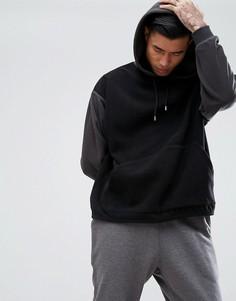 Oversize-худи из флиса с контрастными рукавами ASOS - Черный