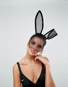 Повязка на голову с большими ушами и вуалеткой ASOS Halloween - Черный