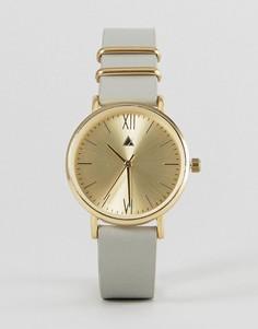 Часы с кожаным ремешком ASOS Premium - Серый