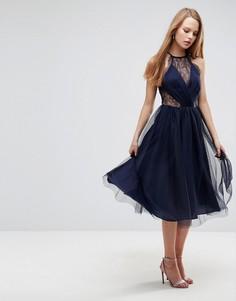 Платье миди из тюля с кружевными вставками ASOS - Темно-синий