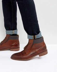 Кожаные ботинки коньячного цвета Steve Madden Quibb - Коричневый